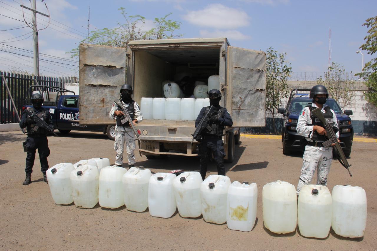 Realizan fuerte operativo en Tepuche y aseguran camión que transportaba precursores químicos